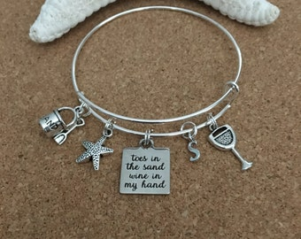 WINE CHARM Bracelet, Toes in the Sand Wine in My Hand, Silver-Plated Bangle, SandPail/Saying/Wine Glass/Starfish + Sterling Silver Initial