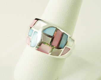 Size 10 Sterling Silver And Pink, White And Blue Dyed Mother Of Pearl Ring