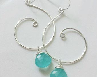 Aqua Chalcedony Earrings, Silver Swirl Earrings, Aqua Dangle Earrings, Sterling Silver, Chalcedony Earrings, Aqua Drop Earrings
