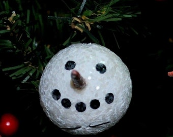 12 White Sparkly SNOWMAN Heads - for your Feather Tree or Package Ties