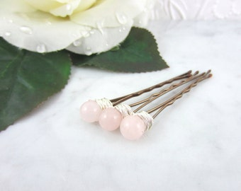 Rose Quartz Hair Pins - Pink Bobby Pin - Quartz Hair Clips - Rose Quartz Jewelry - Gemstone Bobby Pins - Wedding Accessories - Hair Jewelry