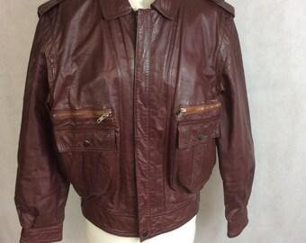 Vintage Flying Jacket Bomber Blouson Tan Leather Medium c 1970s