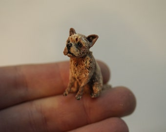 OOAK 1/12th terrier, hand sculpt from polymer clay  dolls house miniature