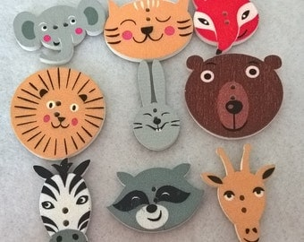 A Pack Of 20 Mixed Jungle Animal Wooden Buttons