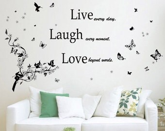 Live love laugh quote + branch and butterflies