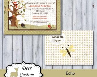 Custom Echo Baby Shower Invitation   Echo Nursery by Lambs & Ivy   Printable or Printed   Personal Use   Woodland Animal   Fox Bear Owl Frog
