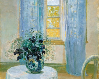 Interior With Clematis by Anna Ancher,in various sizes, Giclee Canvas Print