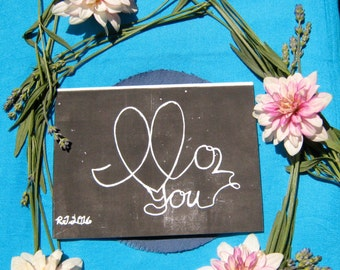 I love you/abstract cursive/handmade paper/block-print card/4x6