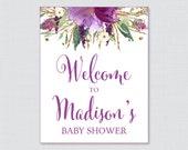 Purple Baby Shower Welcom...