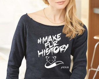 FTLA Apparel Eco Navy Eco Fleece Off the Shoulder Sweatshirt #MakeFurHistory | Make Fur History, Anti-Fur, Fur Belongs to Animals, Furbearer