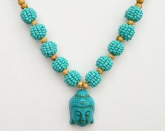 Buddha Necklace, Turquoise Beaded Buddha Necklace, Beaded Necklace, Turquoise, Buddha, Seed Bead Beaded Necklace, Buddha Pendant Necklace