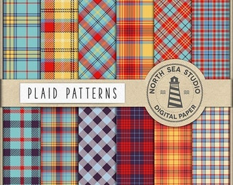 BUY5FOR8, Plaid Digital Paper, Plaid Paper, Tartan Backgrounds, Plaid Patterns, Preppy, Tartan Papers, Instant Download