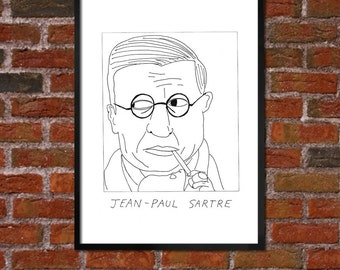 Badly Drawn Jean-Paul Sartre - Literary Poster / print / artwork - Free Worldwide Shipping