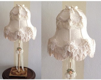 Nursery Lamp, Victorian Wedding Dress Lamp, Hand Sewn Lace Lampshade, Ribbons & Pearls, Unique Half Round Nursery, Bedside or Mantle Lamp
