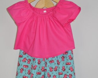 Pig pajamas ,flannel pajama pants,pink pigs,cotton pajama top,flannel capris, pajama set, Pink Piglets on Turquoise, Ready to ship