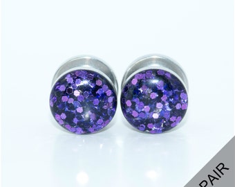 Purple Glitter Sparkle Plugs / 8g, 6g, 4g, 2g, 0g, 00g, 7/16, 1/2, 9/16, 5/8, 11/16, 3/4, 7/8 & 1 inch / Purple plugs / Glitter Gauges
