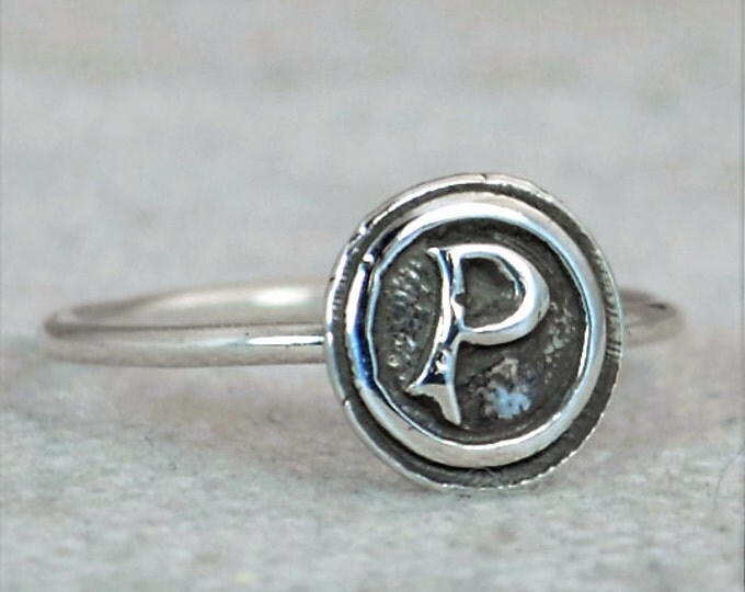 Bohemian, Letter P Ring, Silver P Ring, Initial Ring, Monogram Ring, Letter P, Stacking Initial Ring, Letter Ring, Sterling Silver, P Ring
