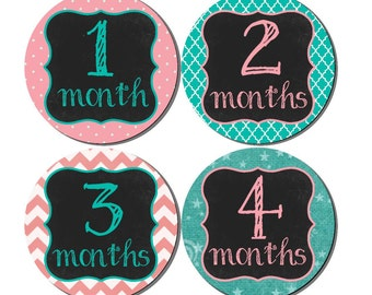 Baby Month to Month Stickers- Baby Girl Month Stickers- Milestone Baby Month Stickers- 12 month stickers- Milestone Sticker- G42
