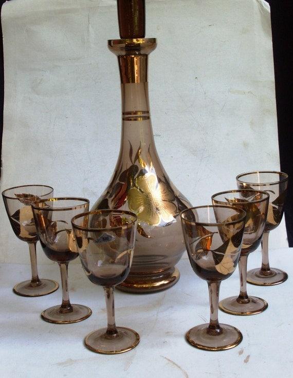 Bottiglia 6 bicchieri vintage decanter bottle with 6 glasses for Bohemia bicchieri