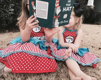 Dr. Suess' Thing 1 or Thing 2 inspired dress! Matching Family Halloween Costumes…School outfit... Birthday!