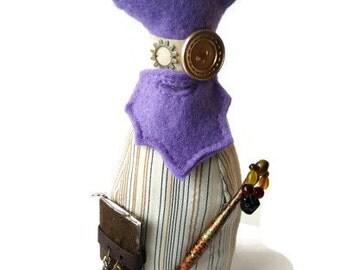 The Wonky Wizard - Strange steampunk plush - steampunk creature - decorative plush - odd gift - steampunk plush - upcycled - OOAK