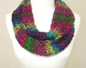 Crochet Rainbow Infinity Scarf