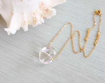 Small Clear Crystal Quartz Nugget Necklace - Polished Crystal Quartz Necklace - Rock Crystal Rock Necklace - April Birthstone Necklace