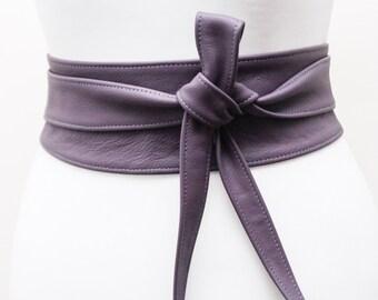 Purple Leather Obi Belt   Cinch Belt   Leather Sash belt   Corset Belt   Plus size belt   Purple Leather Belt   Statement Belt   Wrap Belt