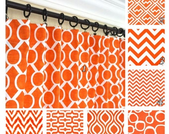 Orange Window Curtains.Red Orange Drapes.Geometric Curtains.Optional Blackout Curtain.Window Treatment.Tangelo Curtain Panels