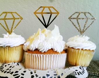 DIAMOND Engagement Ring Cupcake Topper, Bridal Shower decoration, Diamond cupcake topper, bridal shower decorations. diamond ring toppers