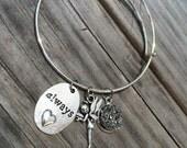 Fairy bracelet, Love Bracelet, Druzy Bracelet, Charm Bangle, Charm bracelet