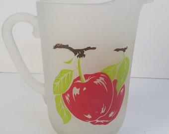 Hazel Atlas Frosted Glass Pitcher with Apples