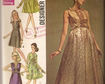 VINTAGE Simplicity Designer Fashion Sewing Pattern 8497 - Women's Clothes - Misses Evening Dress, Size 12