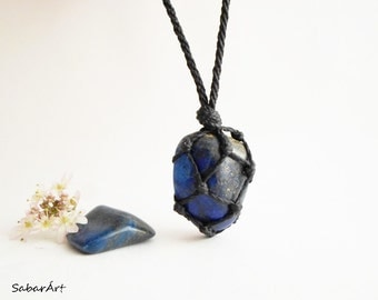 Mens necklace, jewelry for men, Lapis lazuli necklace, Lapis lazuli jewelry, mens pendant, lapiz lazuli, healing stones, cobalt blue,for men