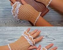 Wedding fingerless gloves Crochet mitts Cotton fingerless gloves Crochet gloves Victorian gloves Cotton mittens Knitted gloves Boho gloves