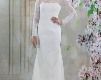 Long sleeves lace wedding dress, mermaid bridal gown