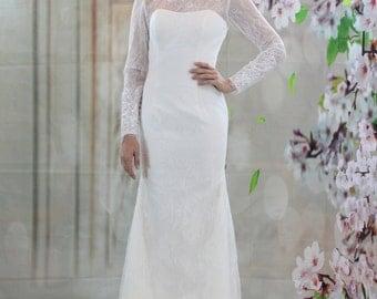 Long sleeves lace wedding dress, mermaid bridal gown