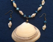 Ocean's Bounty SeaShell Necklace and Earrings Set, Real Shell Pendant, Blue and Teal River Shell Beads, Mini Conch Beads, Brass Accents