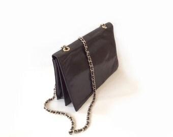 Charles Jourdan Paris handbag. Black leather chain 1980s pouch . Boho bag .