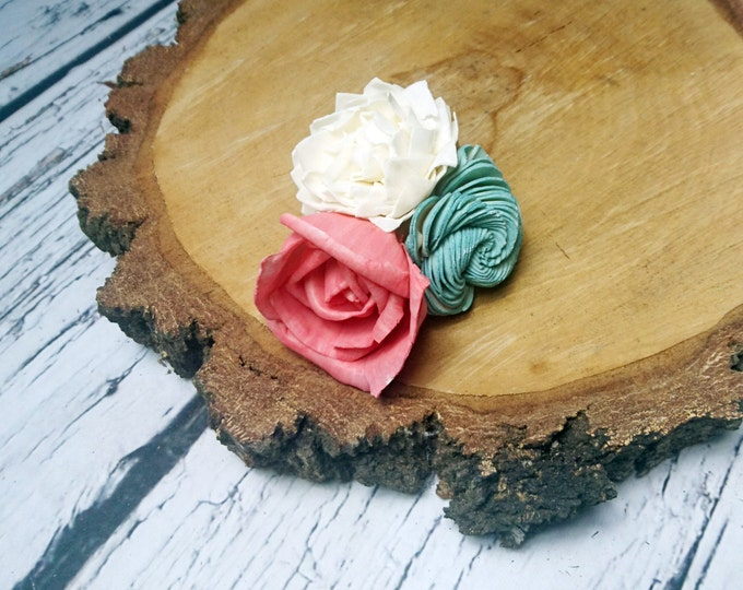Coral, mint and ivory summer beach wedding boutonniere