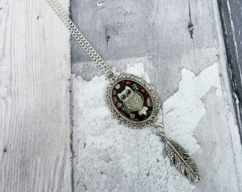 Owl Cameo Silver Feather Necklace