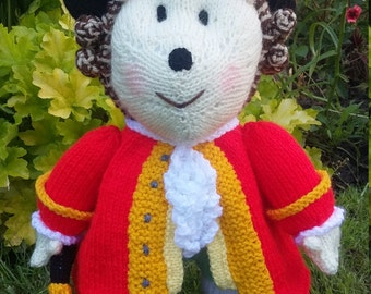 Hedgehog Town Crier Hand Knitted Toy (Made from a Jean Greenhowe pattern)