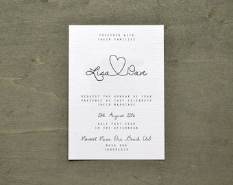 PRINTABLE Invitation PDF - Personalised Simple Calligraphy Heart Wedding Suite - DIY Digital Download Only