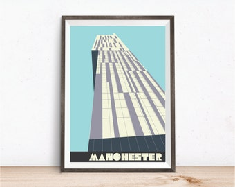 Manchester Beetham Tower in Azure, Manchester Hilton Hotel Print, A4, 8x10 inch print, Manchester Poster, Manchester Art Print