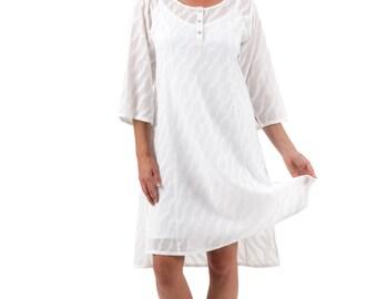 Cotton Dobby Shirt Dress, Ella - White