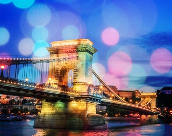 Szechenyi Bridge -  Budapest Night Photography Print - Bokeh Style - Fine Art Photography - Budapest Print - Photography - Wall Art