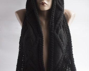 Scarf Long Hooded. Hooded Scarf. Long Scarf. Wool Scarf. Chunky Scarf. Scoodie Scarf. BLACK  Hooded Scarf. LoveKnittings