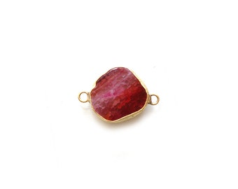 Fuchsia Agate Connector - Gold plated Bezel - 1pc