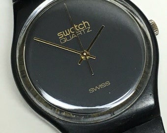 Vintage Swatch Watch GB101 1983 Rare First Year Classic Black Gold