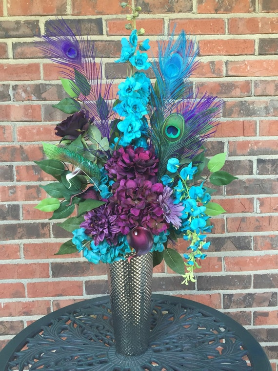 Purple and Turquoise Centerpiece Peacock by MerryMeBouquets